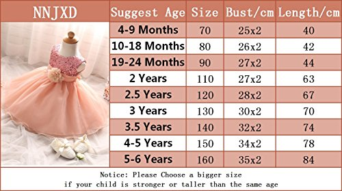 NNJXD Girl Flower Sequin Princess Tutu Tulle Baby Party Dress Size 19-24 Months Yellow