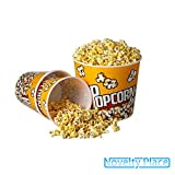"""[Novelty Place®] Retro Style Plastic Popcorn Containers for Movie Night - 7.25"""" Tall x 7.25"""" Top Diameter (6 Pack)"""