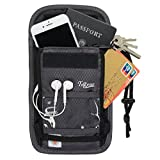 Travel Neck Pouch with Rfid Blocking 2 in 1 Passport Holder & Traveling Wallet for Men & Women (Grey)