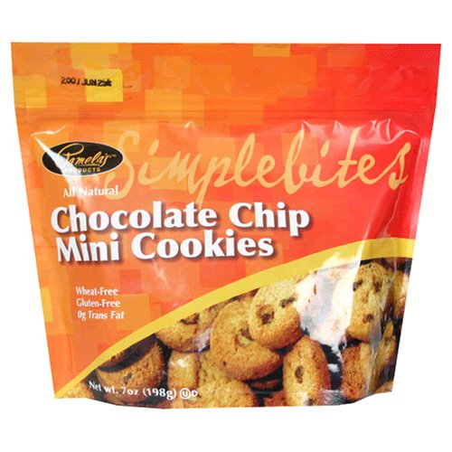 Pamela's Products Simplebites Chocolate Chip Mini Cookies, 7-Ounce Pouches (Pack of 6)