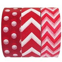 Wrapables Red Obsession Japanese Washi Masking Tape, Set of 3