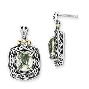 IceCarats Designer Jewelry Sterling Silver W/14K Diamond Green Quartz Earrings