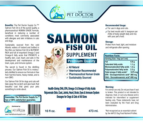 Fresh salmon fish oil for dogs and cats human grade omega for Fish oil for dogs dry skin