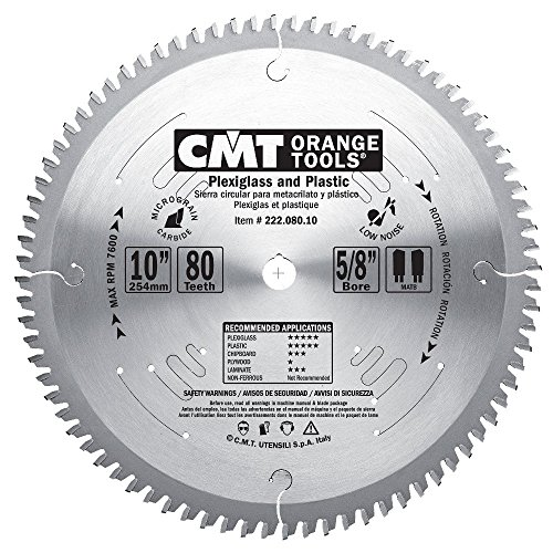 Cmt 222 080 10 Industrial Plexiglass And Plastic Saw Blade