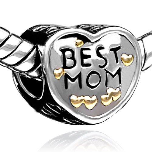 Pugster Heart Best Mom Charms Beads Fit Pandora Chamilia Biagi Charm Bracelet
