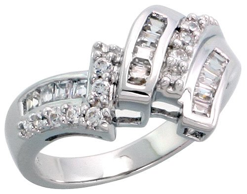 Sterling Silver Cubic Zirconia Ring w/ 13 Baguette & 11 Round Stones, 1/2 inch (13 mm) wide, size 7