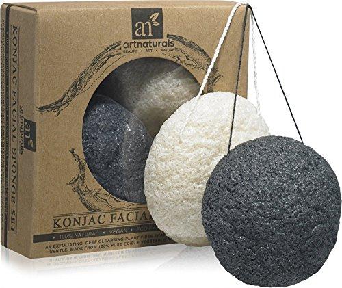 kunst-naturals-konjac-gesichtsschwamm-set-2er-pack-charcoal-black-natural-white-100-naturliche-gross