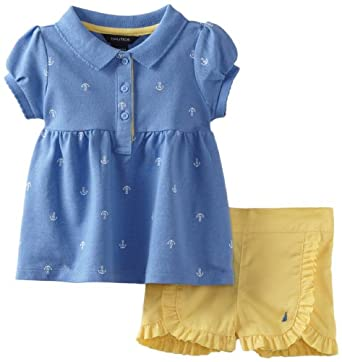 Nautica Baby-Girls Infant 2 Piece Printed Set, Cornflower, 18 Months