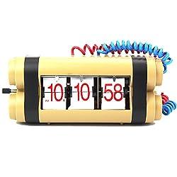 Sea Team Novel Bomb Shape Flip Down Clock Desk Clock - Internal Gear Operated
