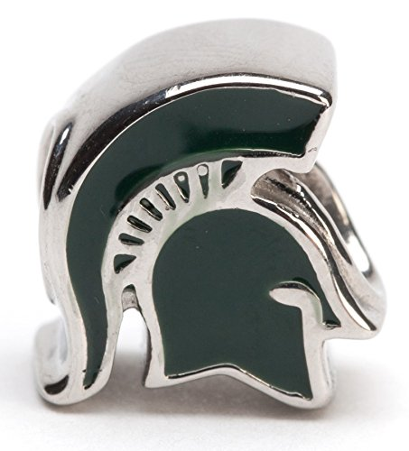 Michigan State 3-D Green Spartan Bead Charm - Fits Pandora & Others - Lifetime Guarantee