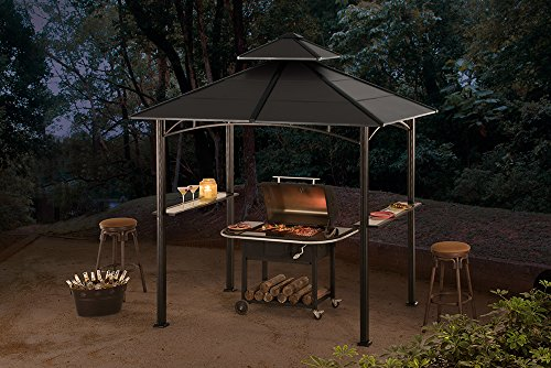 Grill Canopy Garage And Entry : Sunjoy d gz pst large bellevue hardtop grill gazebo