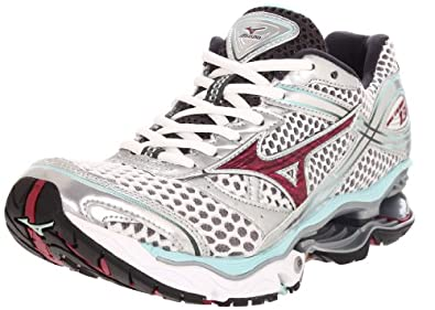 Mizuno Women's Wave Creation 13 Running,White/Sangria/Wleached Aqua,6 B US