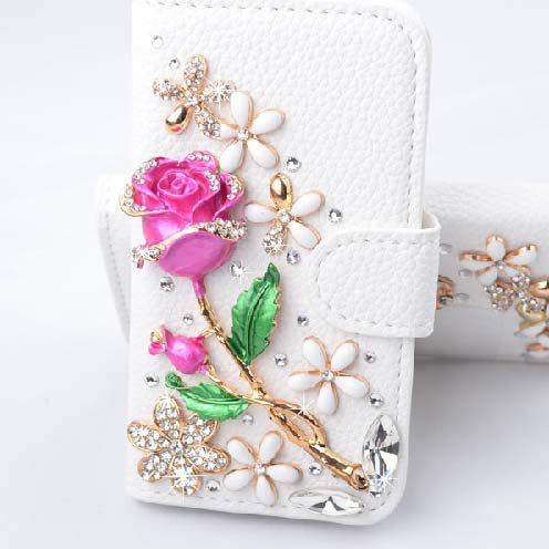 Candymaker Samsung Galaxy S5 I9600 Case Luxury 3D Bling Crystal Rhinestone Wallet Leather Purse Flip Card Pouch stand cover case + Bonus Free Stylus ( Rose and flowers)