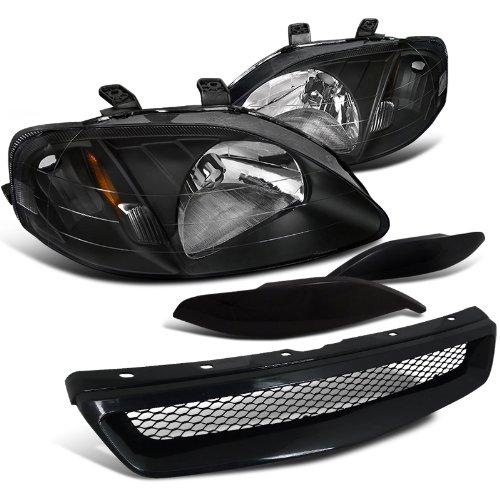 Honda Civic Headlights, Grille, Eyebrow Black (Honda Civic Ex 2000 Grills compare prices)