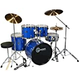 Drum Set Adult Size Blue Full Size with Cymbals Stands Sticks Stool and Extra Boom Cymbal