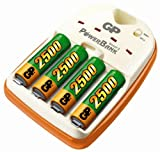 GP Batteries PB14 PowerBank Smart 2 Fast Charger with 4 NiMH 2500 AA Batteries