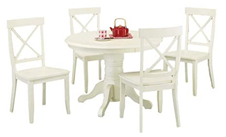 Home Styles 5 Piece Dining Set - Creamy White - Includes a Sturdy Pedestal Style Table and 4 Cross Back Chairs