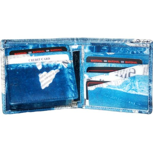 100% Denim Bi-fold Mens Wallet Blue #95-1533