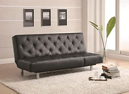 Sofa Bed with Button Tufted in Black Leatherette