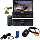 Vehicle Receiver and Rear View Camera Package - PLTS73FX 7'' Single DIN In-Dash Motorized Touch Screen Digital TFT/LCD Monitor w/ DVD/CD/MP3/MP4/USB/SD/AM-FM Radio Player - PLCM22IR Flush Mount Rear View Camera w/ 0 Lux Night Vision for Car, Van, Truck, Bus, Mobile etc.