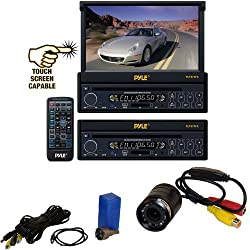 See Vehicle Receiver and Rear View Camera Package - PLTS73FX 7' Single DIN In-Dash Motorized Touch Screen Digital TFT/LCD Monitor w/ DVD/CD/MP3/MP4/USB/SD/AM-FM Radio Player - PLCM22IR Flush Mount Rear View Camera w/ 0 Lux Night Vision for Car, Van, Truck, Bu Details
