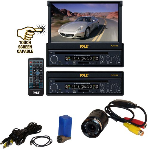Vehicle Receiver And Rear View Camera Package - Plts73Fx 7'' Single Din In-Dash Motorized Touch Screen Digital Tft/Lcd Monitor W/ Dvd/Cd/Mp3/Mp4/Usb/Sd/Am-Fm Radio Player - Plcm22Ir Flush Mount Rear View Camera W/ 0 Lux Night Vision For Car, Van, Truck, B