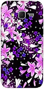 Snoogg Purple flowers Hard Back Case Cover Shield For Samsung Galaxy Grand Prime