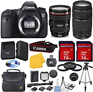 Canon EOS 6D 20.2 MP CMOS Digital SLR Camera with 3.0-Inch LCD Digideals Special Video Bundle with Canon 24-105mm L Lens + Canon 75-300mm III Zoom Lens + Mini LED Light + 3pc Filter Kit (UV + CPL + FLD) + Digideals 6pc Starter Kit + Full Size Tripod + 2pc