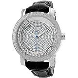 "JBW Men's JB-6211L-G ""Hendrix"" Stainless Steel Multi-Function Leather Diamond Watch"