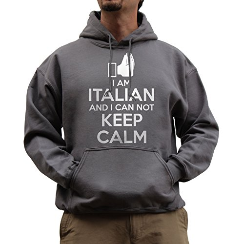 Nutees Unisex I Am Italian And I Can Not Keep Calm Funny Hoodie Charcoal Grey