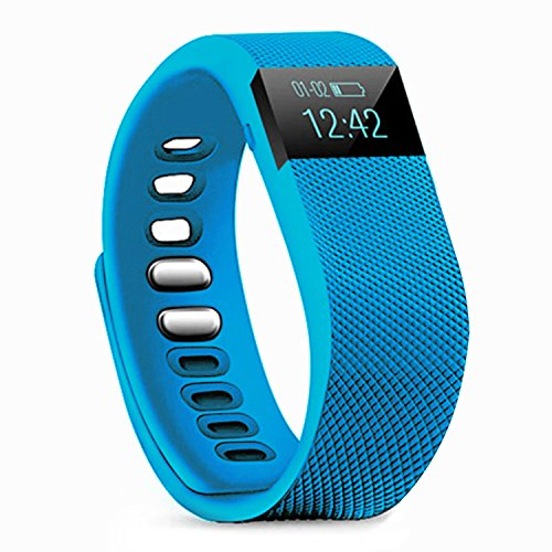 Fitness Tracker,Teslasz Bluetooth 4.0 Sleep Monitor Calorie Counter Pedometer Sport Activity Tracker for Android and IOS Smart Phone (Blue)