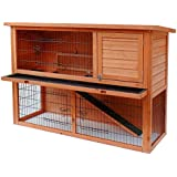 FIRE SALE Merax Pet Rabbit Bunny Wood House Hutch with ABS Tray, Natural Color