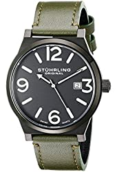 Stuhrling Original Men's 454.3355D1 Leisure Eagle Osprey Swiss Quartz Date Green Leather Strap Watch
