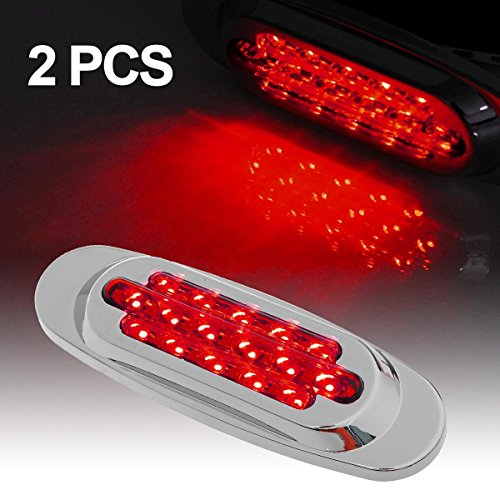 Partsam Chrome Oval Clearance ,Marker LED Truck Light,For Cab & Sleeper Panels,Pair,Red (Rims For Gmc Sierra 1500 compare prices)