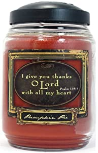 Reflective Light Christian Inspirational Candle - Large Jar, Pumpkin Pie: I give thanks O Lord with all my heart.