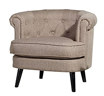 Upholstered Comfy Armchair - In A Luxury Seashell Grey Fabric - Removable Seat Cushion - Black Frame Finish