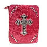 Bible Covers ~ Pink Fuchsia Croc Print Bible Cover with Cross Accented with Crystals