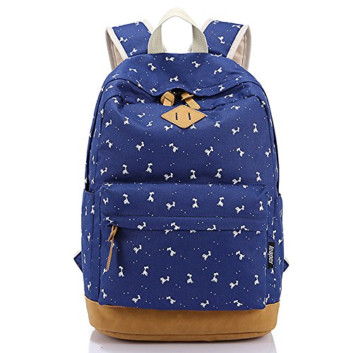 DoubleMay Women Grils Lightweight Canvas Schoolbag Cute Flower Satchel Travel Hiking Backpack Laptop Bag Casual Daypacks for College Students Teenager Outdoor 11.4 x 6.3 x 16.9 inch Blue