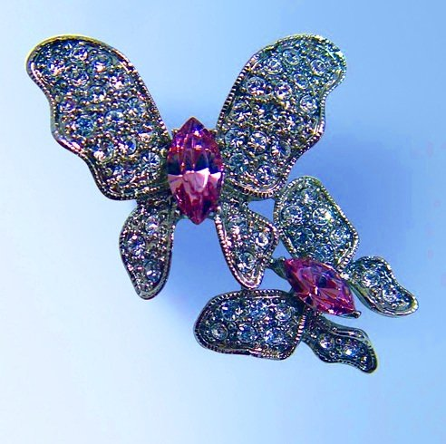 2 Two Butterflies Pin Swarovski Crystals White Lavender Purple Baby Mother & ...