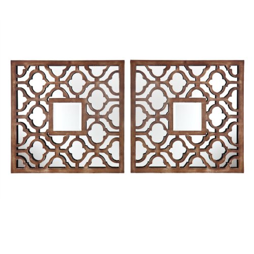 Parquetry Decorative Metal Mirror Set - 20.25W x 20.25H in. each - Set of 2