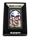 American Flag Punisher Skull Zippo Windproof Collectible Lighter Black Matte. Made in USA