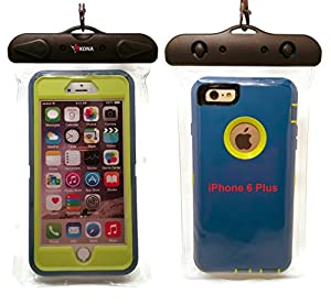 WATERPROOF iPHONE 6 PLUS CASE, KONA® [EXTRA LARGE] Universal XL Waterproof Phone Bag Fits Large Phones Using Thick Cases Like Otterbox + 30% Heavier Duty Double Sealed Seam Waterproof Phone Pouch