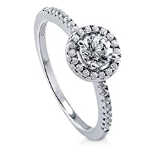 buy Berricle Sterling Silver With Round Swarovski Zirconia Halo Promise Engagement Wedding Ring