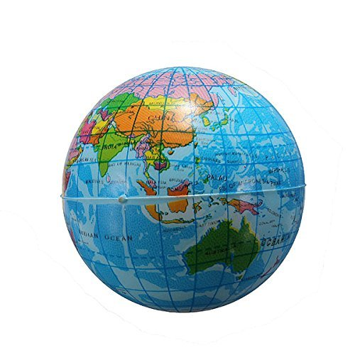 World Map Earth Globe Foam Stress Relief Bouncy Ball Atlas Geography Toy - 1