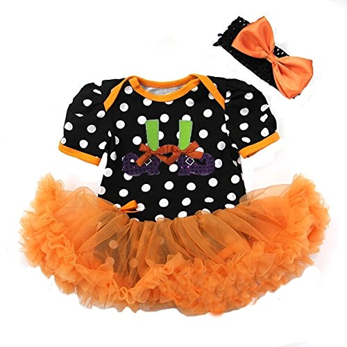 Halloween Baby Black Orange Polka Dots Witch feets Bodysuit Pettiskirt and Headband