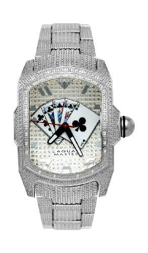 7311eb142c NEW Aqua Master Men s Rectangular Bubble Loop 22 Diamond Poker Watch ...