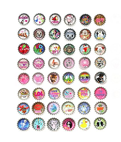 Bottle Caps Decorative Magnets 48 Pcs Set - Great for Party Favors