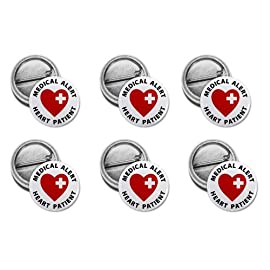 HEART PATIENT Medical Alert 6-Pack of 1 inch Mini Buttons