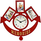 Skynet Plastic Memories Collage 3 In 1 Photo Frame With Clock (54 Cm X 5 Cm X 54, Red)