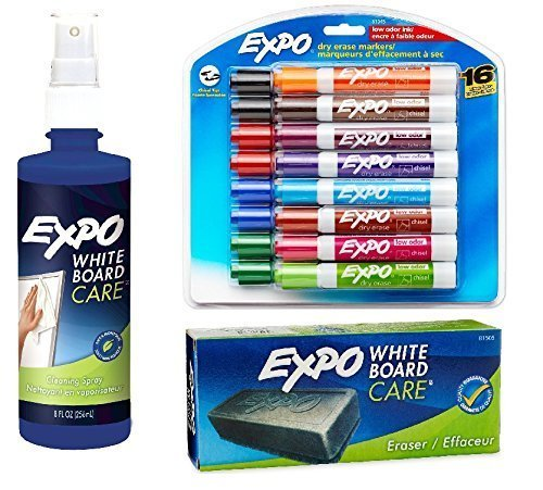 expo-2-low-odor-dry-erase-markers-chisel-tip-16-pack-assorted-colors-81045-with-expo-whiteboard-dry-